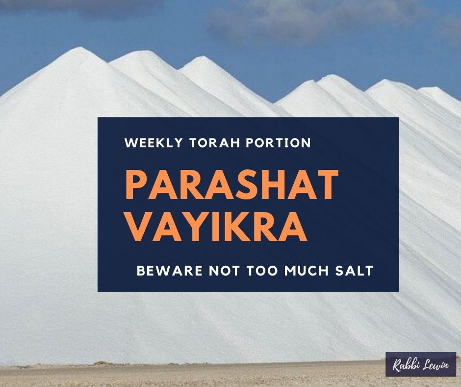 Parshat Vayikra – Beware Not Too Much Salt.